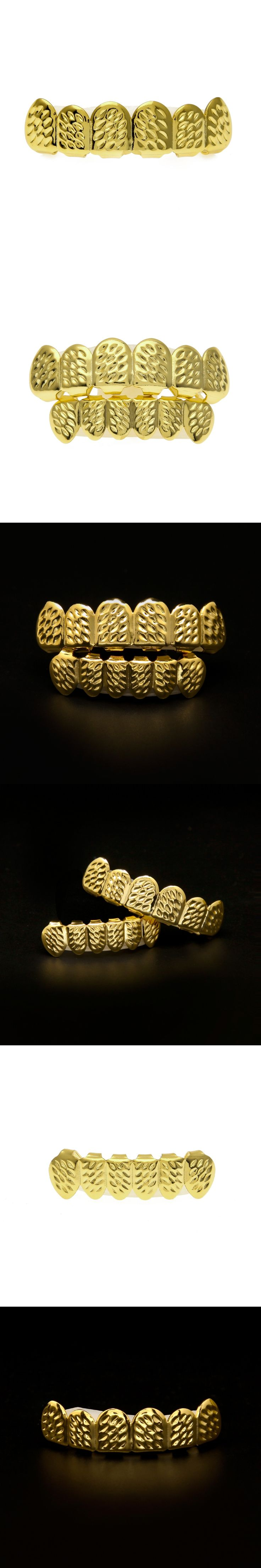 shunyun High Quality Gold Hip Hop Teeth Grillz Caps Top Bottom Grill for Halloween Party Fit Mouth Cheap Grillz Drop Shipping