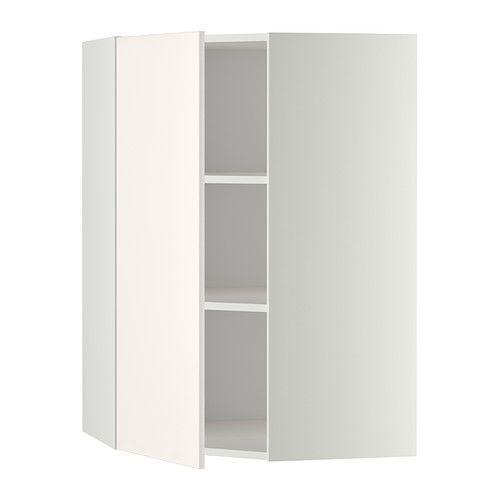 METOD Corner wall cabinet with shelves - white frame, Veddinge white front, 68x100 cm - IKEA, £74