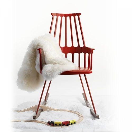 Comback krzeslo 58x100x58cm na biegunach czerwien pomaranczowa