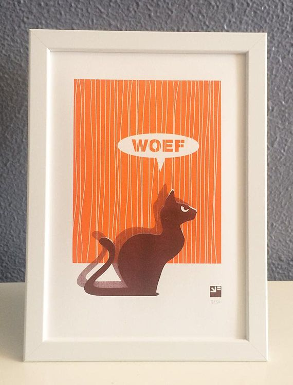 """Risograph print of a cat that says Woef (it barks... in Dutch) - limited edition from a series of angry animals   Ehm, what can you do with a cat that says woef (woof), send it to a shrink? No, hang it on your wall.  Small edition of 20 numbered riso prints. Due to the used technique each print is slightly different and therefore unique.  Printed in 2 colors soy based ink on 200 grams Biotop, A4 (21 x 29.7 cm / 8.27"""" x 11.69"""") #cat #orange #risograph #risoprint #wallart"""