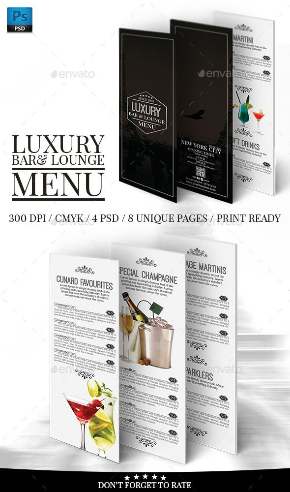 118 best Menu images on Pinterest Menu layout, Wine chart and - bar menu template