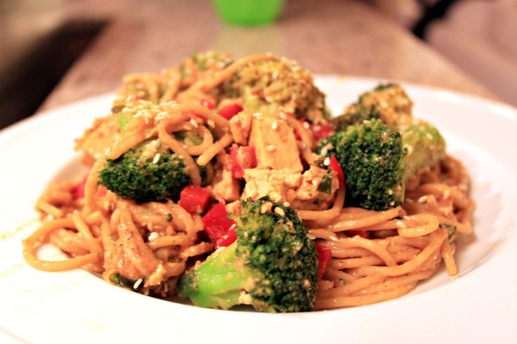 The Picky Eater- Trader Joe's Satay Peanut Sauce noodles with broccoli. Really good. Left out the tofu & curry.- JLG