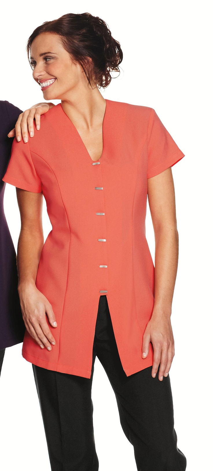 Coral Front Fastening Beauty Tunic