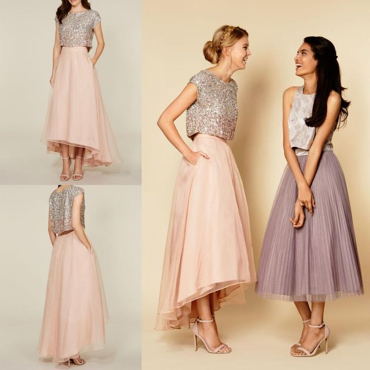 2016 Tutu Skirt Party Dresses Sparkly Two Pieces Sequins Top Vintage Tea Length Short Prom High Low Bridesmaid With Pockets