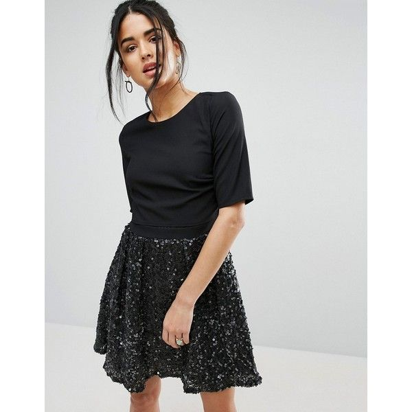 Little Mistress Skater Dress With Sparkle Skirt ($86) ❤ liked on Polyvore featuring dresses, black, fit and flare dress, tall dresses, mesh dress, sequin dress and little mistress dresses