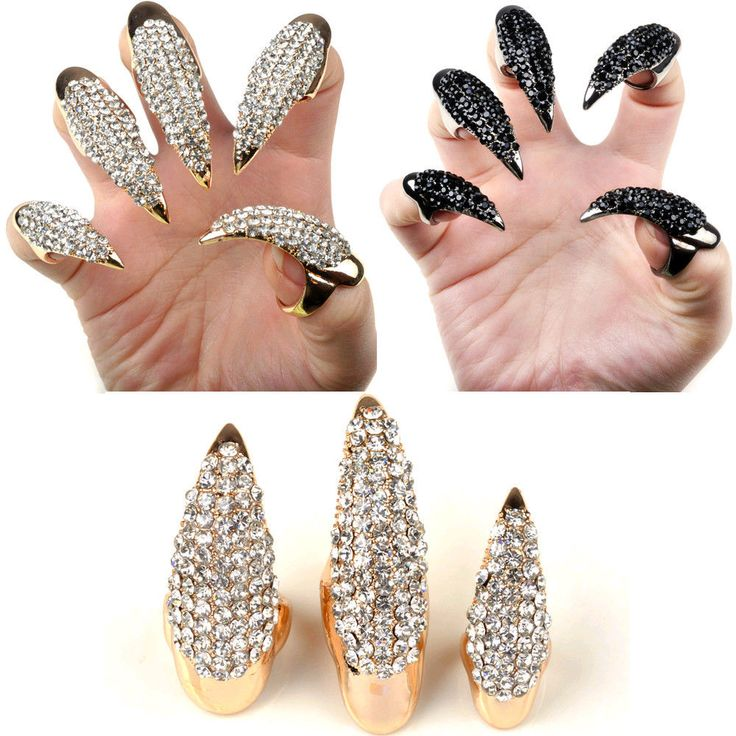 Fashion Punk Clear Black Crystal Claw Ring nail Paw Talon Finger Oval Ring 1pcs
