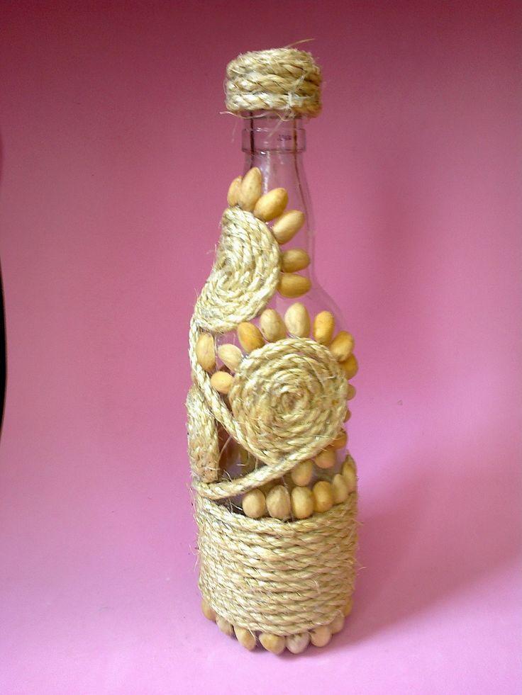 Botella decorada wine bottles pinterest - Botellas de plastico decoradas ...