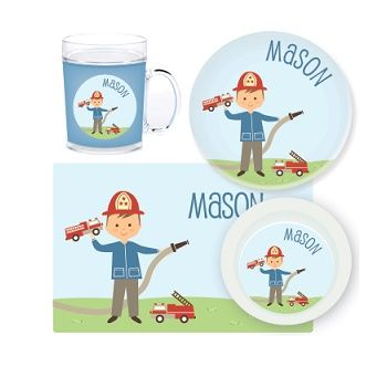 Firefighter Personalised Kids Mealtime Set $32.95 - $39.95 #sweetcreations #baby #toddlers #kids #personalised