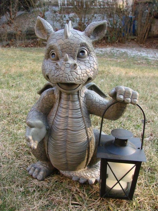 Gartendrache mit Teelicht Laterne Drache Figur Gargoyle Solarlaterne Garten in Garten & Terrasse, Dekoration, Gartenfiguren & -skulpturen   eBay