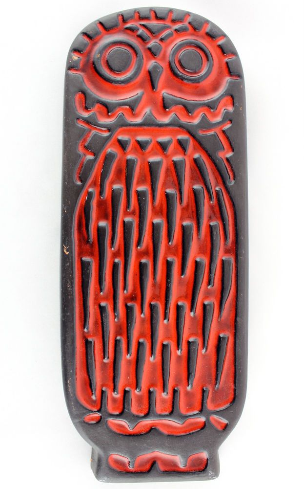 A vintage Swedish pottery owl wall plaque. Orange & brown. Gabriel 1960/70 s.