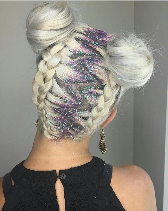 I'm sorry WAIT.... 1) Spacebuns check  2) Braids check  3) AND GLITTER CHECK CHECK CHECK!!!! I LOVE IT!  SHOW SOME UNICORN LOVE AND GIVE @hairby_laurenb  From @theliftasalon #unicorns #unicornhair #unicorntribe