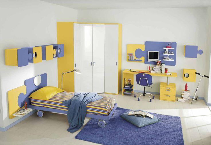 Cameretta bambini colorata gialla e lavanda con pensili puzzle. #cameretta #colore #puzzle   Cameretta   Pinterest   Kids bedroom, Home Decor and Bedroom