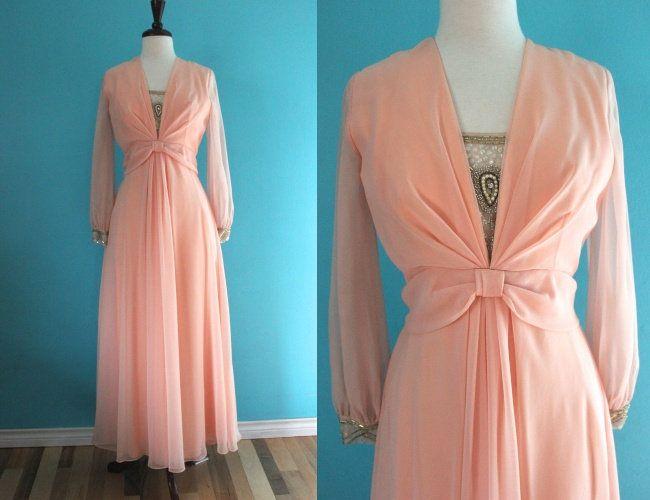 70 S Prom Dress Peach Chiffon 70 S Prom Dress Etsy 70s Prom Dress 70s Dress Prom Dresses 70s