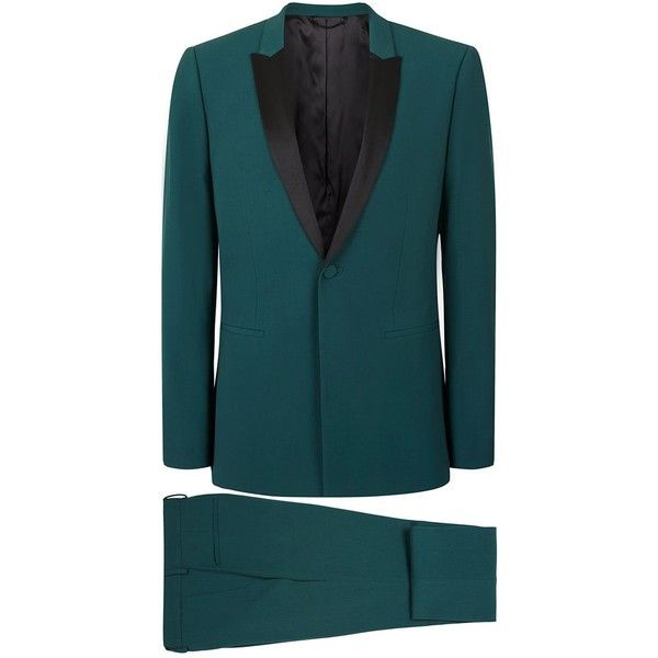 TOPMAN Teal Skinny Fit Tuxedo Suit ($110) ❤ liked on Polyvore featuring men's fashion, men's clothing, men's suits, mens skinny fit suits, mens skinny suits, mens tuxedo suits and topman mens suits
