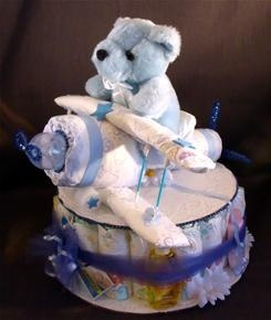 diaper cake with diaper airplane