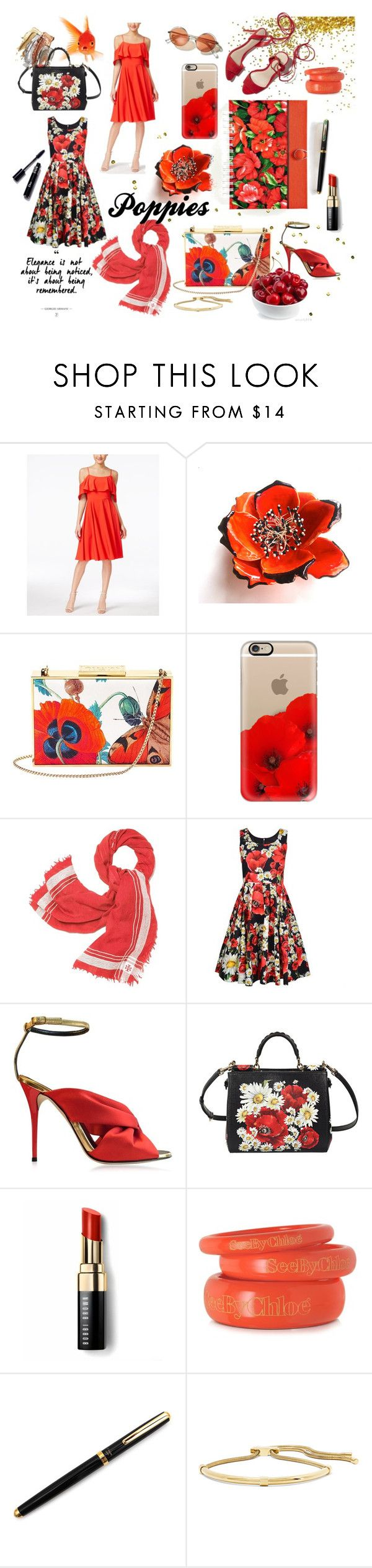 """Poppies!!"" by iwona-estera on Polyvore featuring CeCe, Aspinal of London, Casetify, Tory Burch, Loeffler Randall, Dolce&Gabbana, Oscar de la Renta, Bobbi Brown Cosmetics, See by Chloé and Lanvin"