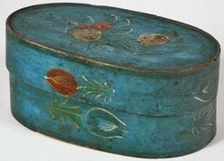 Paint Decorated Wood; Bride's Box, Oval, Polychrome Tulips, Blue Ground, 17 inch.