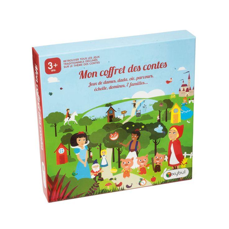 Un coffret multi-jeux sur le thème des contes. Les enfants trouvent des jeux adaptés à leur âge. De 3 à 8 ans : dominos, jeu de 7 familles et jeu de parcours pour les plus jeunes. Dames, oie, petits chevaux, à 5 ans. Et des règles de jeux de cartes pour les plus grands.