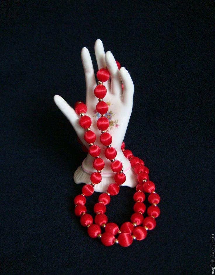 Купить Бусы Рубиново-Красные Шелк 1970-е - винтажные украшения, сша 1970-е