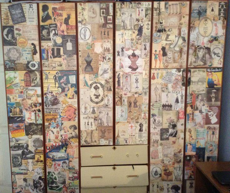 #DIY #Decoupage #Furniture #closet #vintage #DIY