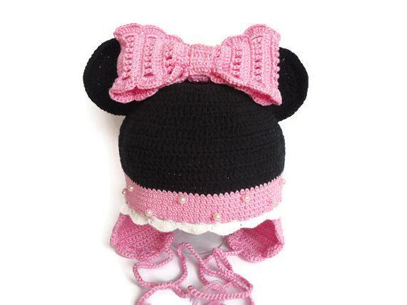 Girl hat Crochet Minnie Mouse Crochet baby hat Girl by SvitlanaSky