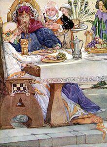 De kikkerkoning. De kikker eet van het bordje van de prinses. Anne Anderson (1874-1930) - Wikipedia