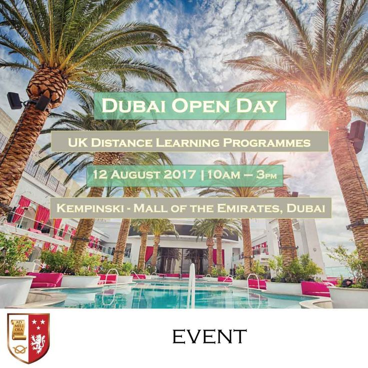 | Dubai Open Day - UK University Distance Learning Programmes |  Register now and join us on 12 August 2017 from 10 am to 3 pm at the Kempinski Hotel (Mall of the Emirates - Dubai) to know more about the programmes we are offering and let us help you earn your degree from a prestigious UK university!  You can bring a copy of your CV for immediate assessment of your eligibility.  Click here to register…