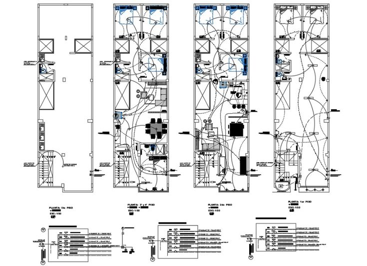 Electrical layout plan details of all floors of four