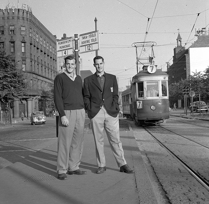 (On the left) Decathlonist Bob Mathias (USA) and an unknown sportsman in Helsinki, Mannerheimintie street during 1952 summer olympics.