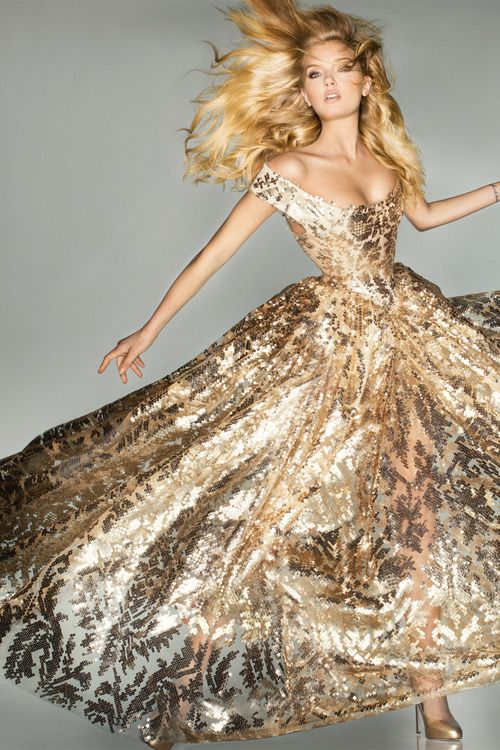 Lily Donaldson photographed by Nick Knight in a bespoke Vivienne Westwood gown.