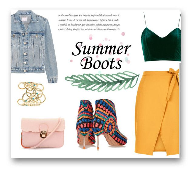"""""""Summer boots"""" by alexandra-barbu-1 ❤ liked on Polyvore featuring St. John, Sophia Webster, New Look, Frame, Topshop and Gas Bijoux"""
