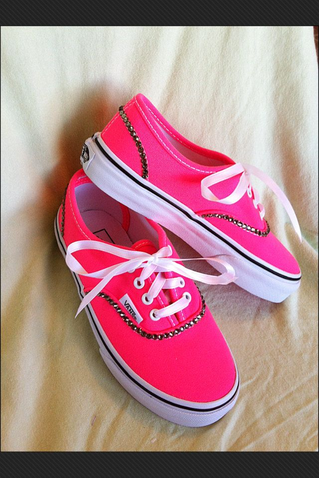 Neon Pink Bling VANS SHOES by Munchkenz on Etsy