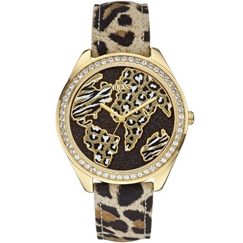 Guess Wonderland Ladies Watch W0504L2  0091661440977      	Stainless steel case, gold colored coating, polished  	Leather strap, beige / black / brown, pin buckle  	Quartz movement, battery operated  	Case and dial set with stones  	Case width ca. 44 mm      Comes with operating instruction and box.    MSRP: 149,- EUR | Shop this product here: http://spreesy.com/vampire_clothing/33 | Shop all of our products at http://spreesy.com/vampire_clothing    | Pinterest selling powered by Spreesy.com