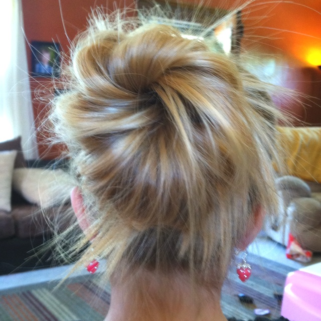 "Braelynn's ""messy bun"" :)The Doors, Hair Tutorials, Hairstyles, Beautiful, Messy Updo, Messy Buns, Hair Style, Socks Buns, Hair Color"