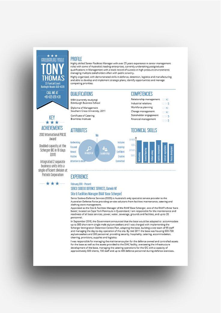 the Moreton resume design in blue