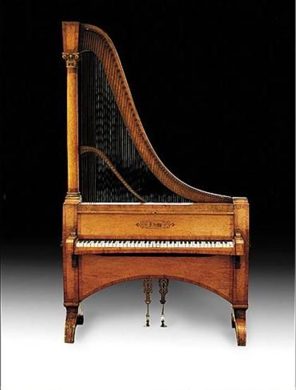 An extraordinarily rare harp-piano by Dietz, Austria or Germany, ca. 1840. The strings are plucked as on a harp, operated through a piano keyboard.