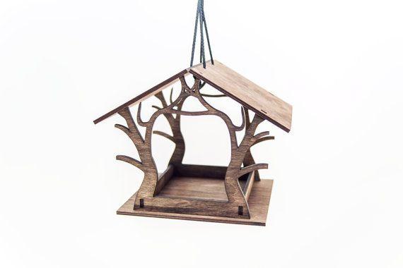 Neu! Hängende Futterhäuschen - Holz Vogelhaus - Gartendekoration - braun Bird Feeder - lasergeschnittenen Bird Feeder - Housewarminggeschenk
