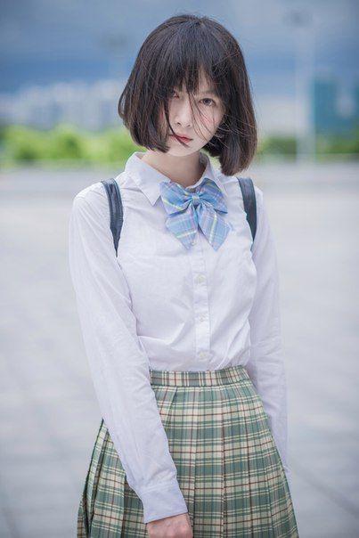 ~ School Girl☆ ~ school uniform - bow tie ribbon - plaid skirt - short hair  - backpack - elegant - mysterious - …  da42072e0d549