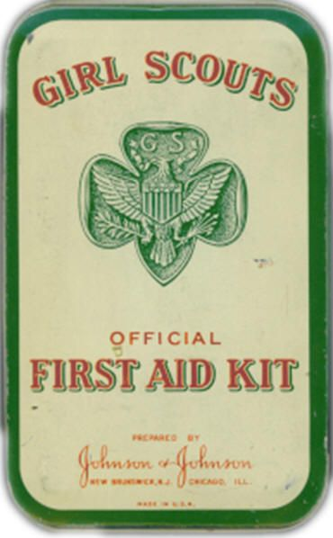 Official Girl Scout first aid kit circa 1950.