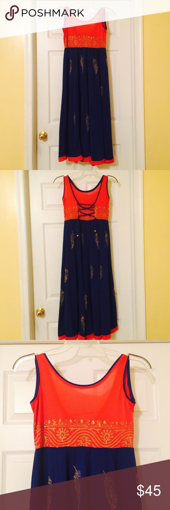Red blue gold maxi Indian dress kurtha anarkali L Beautiful stretch slinky red blue large Maxi Indian dress nwt ! Anarkali Dresses