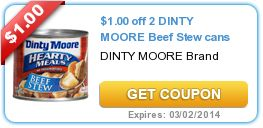 $1.00 off 2 DINTY MOORE Beef Stew cans Coupon