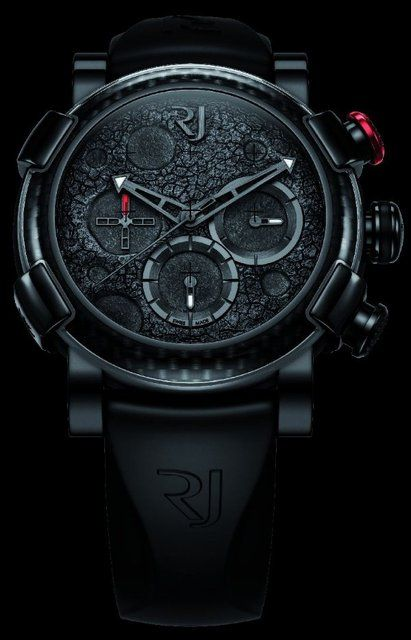 Romain Jerome watch. Black on black with a touch of magenta.