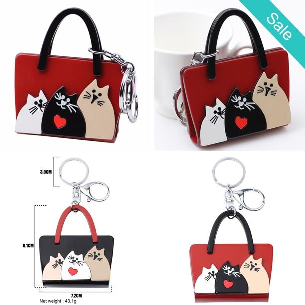 Super Cute Red Kitty Cats Printed Photo Handbag Key Chain Key Ring -    Item Type: Key Chains  Metal color: Alloy Material: Plastic  Bag size: 81mm x 72mm  - On Sale for $16.20 (was $30.00)