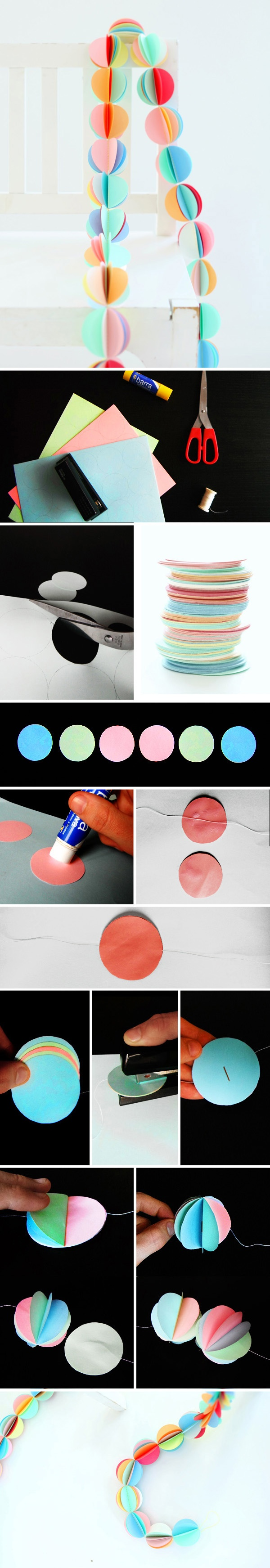 Grinalda de círculos de papel! Dá pra enfeitar um aniversário, festa ou até mesmo o quarto! *-* cor para todos os lados!