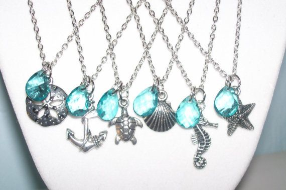Teal Beach Wedding Necklaces - Set of 6