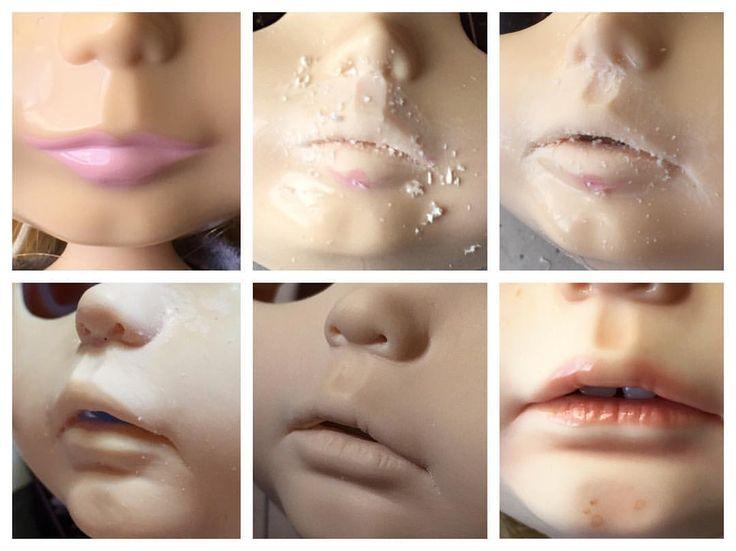 """Blythe lip carving / customization by Mayra Galland - The progress #blythe #doll #blythedoll #customblythe #customdoll #ooak #ooakdoll #ooakblythe…"""""""