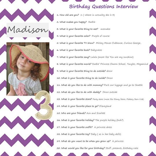 Kid's birthday interview - ask the same questions on each birthday as a remembrance