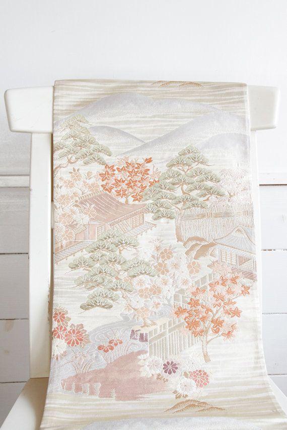 Brocade Japanese Vintage Fukuro Kimono Obi Ceremonial by CJSTonbo