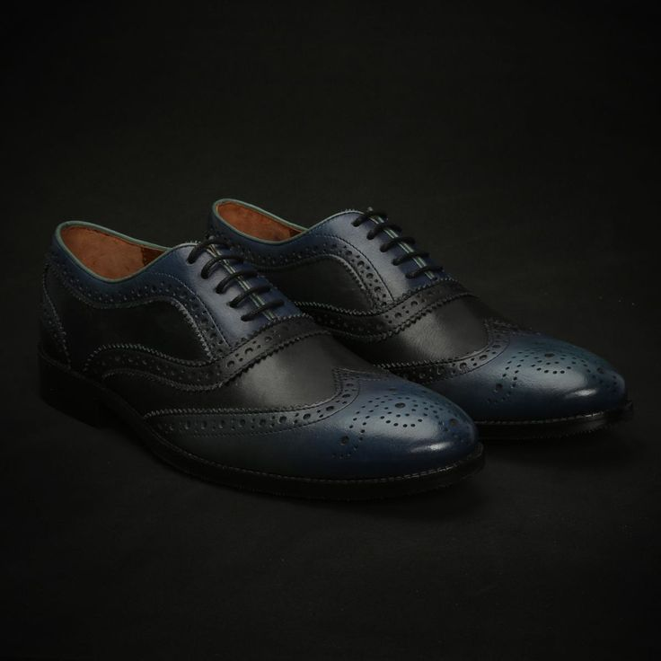 BUY BLUE & BLACK COLOURED HAND PAINTED DUAL SHADE LEATHER FULL BROGUE SHOES NEW EXCLUSIVE COLLECTION