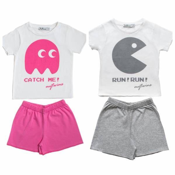 Σετ παιδικές πυτζάμες για αγόρι κορίτσι από την καλοκαιρινή συλλογή MyTwins